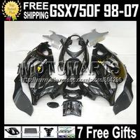 HOT ALL Black 7gifts For SUZUKI KATANA GSXF750  GSX750F GSXF 750 98 99 00 01 02 03 04 05 06 07 Gloss black  1998-2007 Fairing