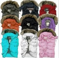 Free Shipping Women Fur Vest Detachable Hooded Down Vest Coat Multi-color Sleeveless Waistcoat Jacket 90% White Down