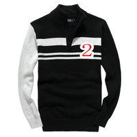 New 2014 latest design classic fashion half zipper long sleeve men 's sweater of qiu dong season hot warm male sweater big size