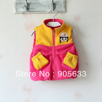 Free shipping 2013 new autumn style baby clothes kid's Girls spell color vest, Ms. avatar in the shape of the patch vest