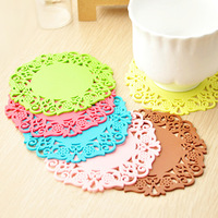 Min order $ 10 free shipping Home fashion lace cutout silica gel coaster multicolour slip-resistant heat pad bowl pad