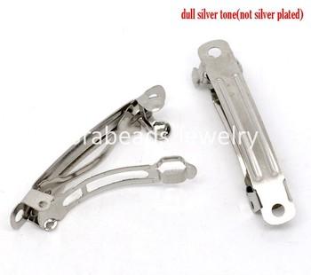 50 Silver Tone French Hair Barrette Clips 39x9mm (B10851)8seasons