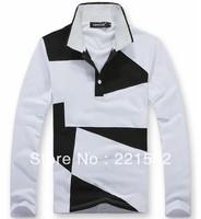 POLO shirt 2013 new long-sleeved black white mixed colors wild Man's Polo  Long sleeve shirt  Autumn 100%cotton 5 Size
