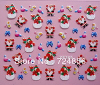 Free shipping 20packs/lot 24 Designs Glitter Christmas Nail Art sticker 3D French Nail Art Sticker Decal Nail Art Decoration