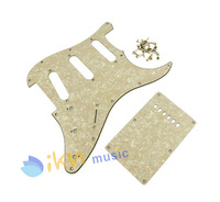 Aged Cream Pearl Strat Squier Style SSS Guitar Pickguard Tremolo Cover Screws 3Ply