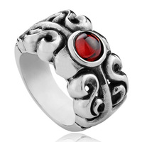 Artificial Red Gemstone Big Rings For Men 2014 New Fashion Jewelry Items Free Shipping,SZ 8.5~11