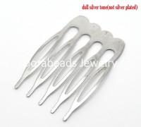 Free Shipping! 30 Silver Tone Comb Shape Hair Clips 39x26mm (B15509)