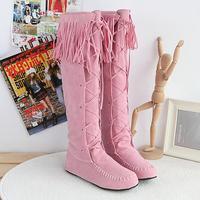 2013 boots nubuck leather lacing flat heel round toe tassel boots boots student high-leg