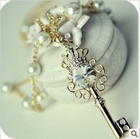Free shipping 5pcs/lot fashion Xl042 accessories gem key pearl necklace zircon rhinestone necklace