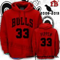 Thickening classic bulls pippen sweatshirt pippen sports hat pocket shirt fleece outerwear