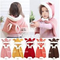 Korean children caps kids winter knitted rabbit ears hooded cloak cape baby coat Wholesale for girl free shipping RYJ13004