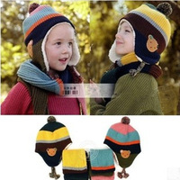 Korean fashion winter wool hat scarf sets children warm Cubs Knit caps wholesale kids' muffler free shipping RY13161