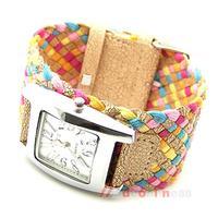 Color Braided Plaited Rope Strap Wrap Quartz Lady Wrist Watch M3AO