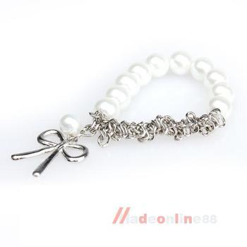 Chain Cute Bowknot White Faux Pearl Braclet M3AO