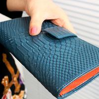 2014 fashion cowhide purse female genuine leather crocodile pattern long design women's wallet card holder wallet