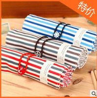 Wholesale Contracted Canvas Pen bag Blue stripes Red stripe Receive bag