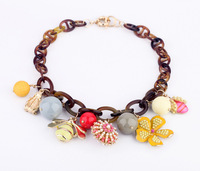 hot sell big brand Insect flower vintage statement necklace Fluorescent color big chunky choker 2013 free shipping