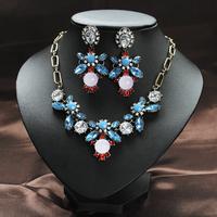 Fashion Vintage Short Necklace Design Crystal Drop Earring Gem Dangles Earrings Sets EU003 Free Shipping