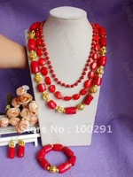 Free ship!# 104 three strand fashion african wedding bridal necklace bracelet and earrings coral jewelry set