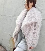 Free Shipping Winter NEW Korean Brand sty nda Fleece Cotton Loose Turn-Down Collar Ladies' Fur Coat(Black+Beige)130823#9