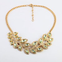 2013 new gem leaves alloy statement necklace  vintage exaggerated special offer big brand necklace free shipping
