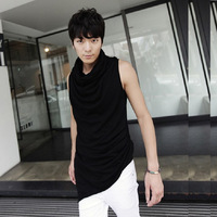 Male sleeveless T-shirt men's clothing non-mainstream heap turtleneck pleated irregular slim t-shirt male costumes plus size