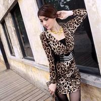 2013 leopard print autumn long-sleeve sexy slim basic one-piece dress belt