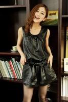 2013 spring dress sheepskin genuine leather skirt genuine leather tank dress one-piece dress