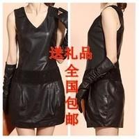 Genuine leather women leather clothing 2012 autumn sheepskin skirt medium-long autumn one-piece dress short skirt