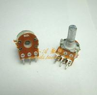 Free shipping,2 pieces/lot.  Standard shank dual potentiometer 50k amplifier board speaker volume potentiometer 1