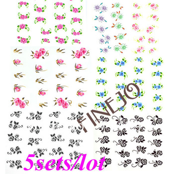 5sets/lot New 10 Sheets 3D Nail Art Sticker Water Temporary Tattoos Watermark Stickers Flowers Decal Lot 4511