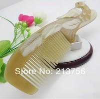 Wholesale 5Pcs/Lot Natural Ox Horn Combs With  Phoenix Image Hair Comb-NJ710240