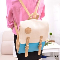 Casual candy color double-shoulder preppy style color block school bag backpack female