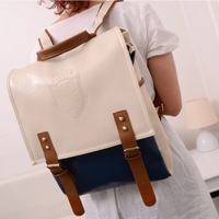 Casual vintage shield preppy style backpack color block decoration student school bag female