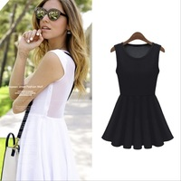 2013 fashion solid color sleeveless after patchwork lace pleated skirt one-piece dress  q3001