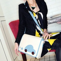 Casual color block cartoon car shoulder bag messenger bag handbag women's white