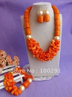 Free shipping!!!Women's Orange Color Drum and petal-shape bead flower African Wedding Coral Jewelry Set