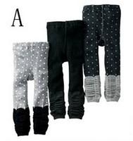 2013 New Arrive Little Girls Warmer Leggings Kids Polka Dot Cotton Knitted Trousers Children Novetly Clothing Free Shipping