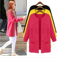 Plus size clothing mm sweater autumn sweater outerwear long-sleeve cardigan plus size clothing A black yellow red SIZE XL-XXL