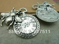 10pcs antique bronze bee clock alloy vintage charms bracelet necklace pendant diy phone cabochon jewelry findings accessories