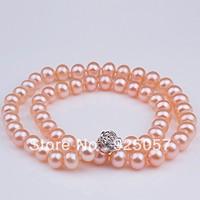 "A+++ Natural AAA+ 8-9mm Pink Akoya Pearl necklace 18"" Long"