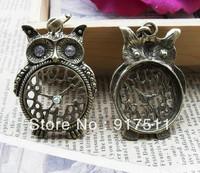 4pcs antique bronze owl clock alloy vintage charms bracelet necklace pendant diy phone cabochon jewelry findings accessories
