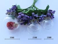 10sets/lot 30MM /25MM/ 20MM Ball Glass Globe Necklace Pendants   Wishing bottle necklace  Fairy Dust Bottles