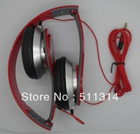Free shipping fashion portable headset sound high quality Mini HD headphones with soft retail box headset high resolution,red