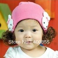 Cute baby hat double rabbit ear hat children winter warm cap,baby rabbit wig cap discount shipping 40pcs/lot
