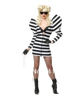 Free Shipping Sexy Gaga Costumes Stripe Zebra DS Club Singer Dress Stage Dance Wear For Women Lady Hot Selling