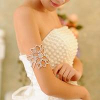 FLOWER CLEAR RHINESTONE BANGLE CRYSTAL UPPER ARM BRACELET WEDDING PARTY