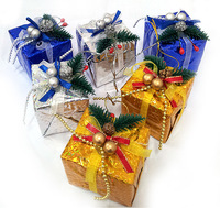 Free shipping Christmas hangings 6cm blended-color small gift box packs 6 christmas gift christmas accessories 20g