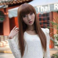 Wig fashion straight hair fluffy qi bangs wigs repair pure
