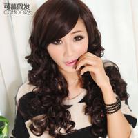 Wig girls oblique bangs , fashion long curly hair fluffy repair egg rolls hair set